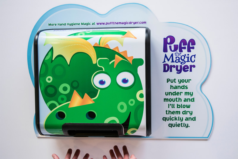 A child friendly hand dryer for primary school children
